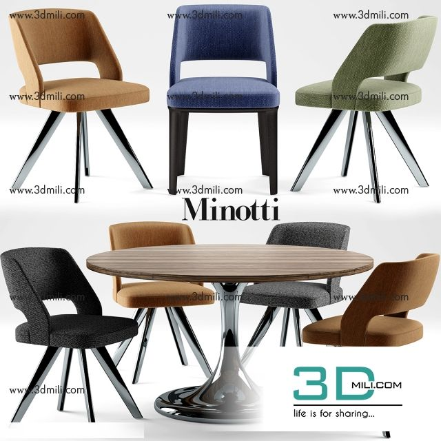 291 Modern Table and Chair Set 3dsmax File Free Download