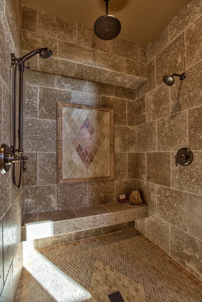 Mediterranean Doorless Shower Designs Bathroom