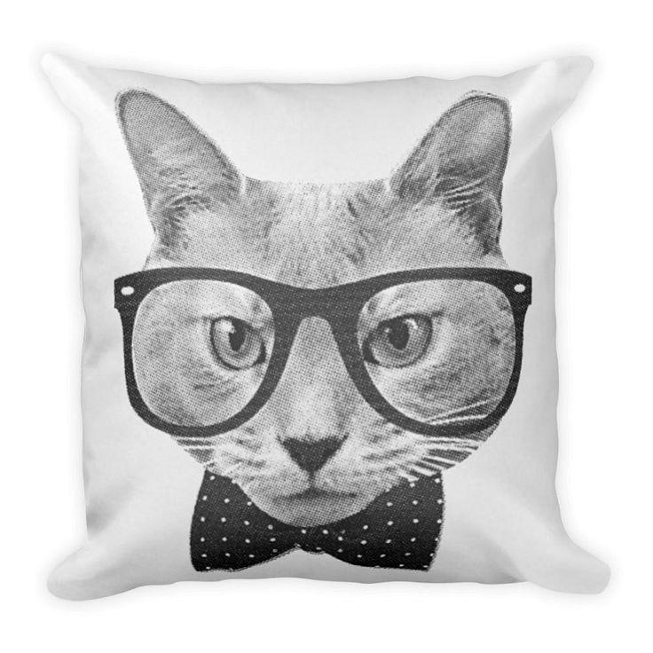 Cats Pillow Vintage hipster cat throw pillow