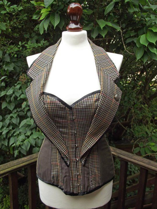 Steampunk Tweed corset. Recycled tweed. Couture / costume/ Doctor Who…