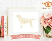 Personalised Animal Silhouette Birthday Print, Memory Print, Typographic Unframed Print, Lion, Dog, Whippet, Horse, Pony, Animal Art