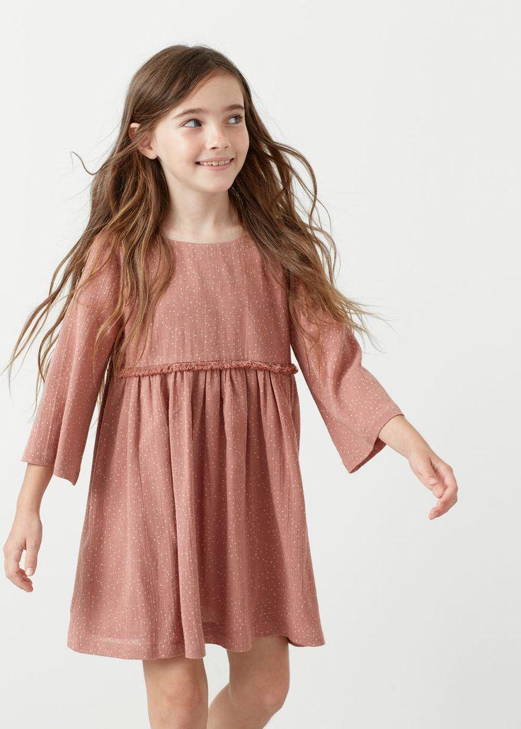Fringed polka-dot dress   MANGO KIDS