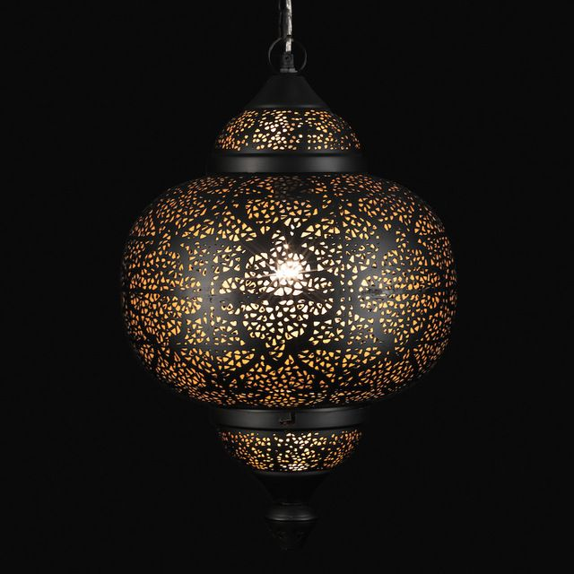 Oriental Pierced Metal Pendant Light asian-pendant-lighting