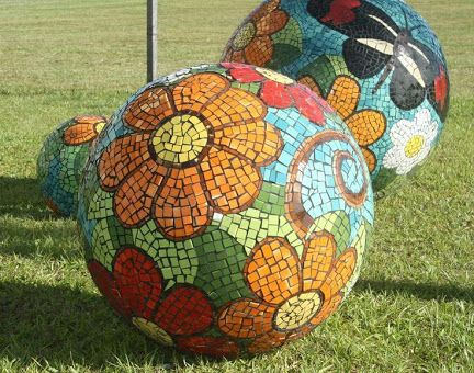 Image result for mosaic gazing ball designs