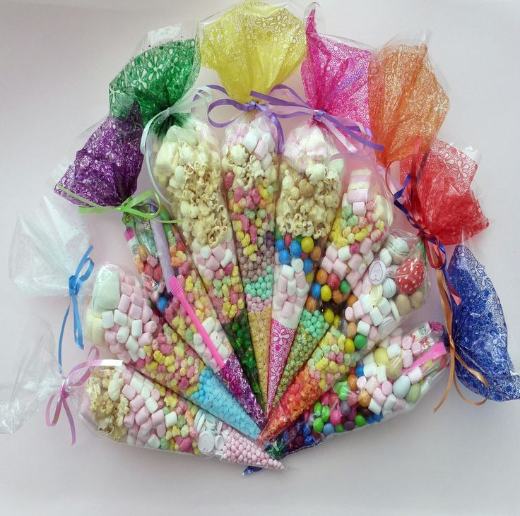 Party Bags Clear cone Coloured bags cello cellophane sweet candy display
