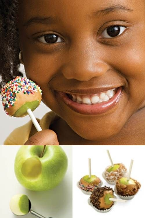 Mini Caramel Apple Bites! Ever annoyed that you're never able to finish an entire Caramel Apple at carnivals and fairs? Well this is the perfect solution!
