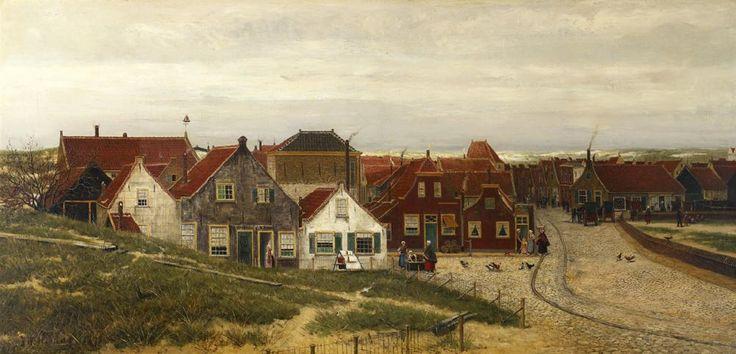 Hendrik Willem Mesdag (1831-1915) Het dorp scheveningen, 1873. Het begin van de Wassenaarseweg ter hoogte van de Oude Kerk. Rechts is de muur te zien die rond de Oude Kerk ligt. De rails van de paardentram liep via de Keizerstraat door de Wassenaarsestraat naar de Gevers Deynootweg en het Stedelijk badhuis.