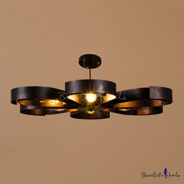 6 Light Petal Semi Flush Ceiling Light In Rust Bronze Vintage