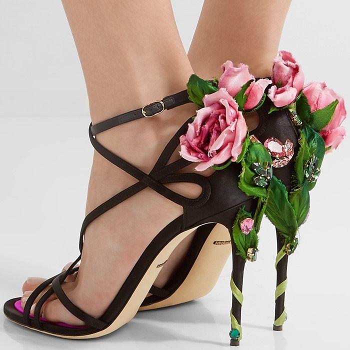 Explosion Models Dolce Gabbana Sandals Black Striped Brocade