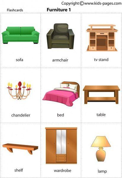 английские слова комната мебель