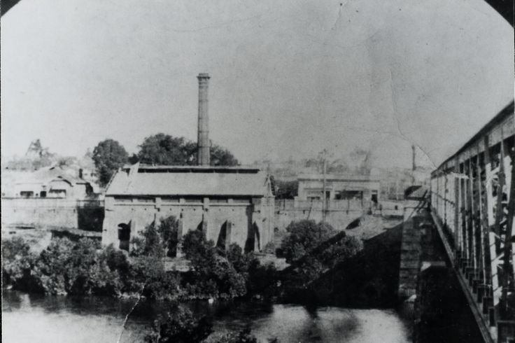 Parramatta Gas Works, and Gas Works Bridge, view of east side of bridge, and works, from elevated position on north bank of Parramatta River, ca. 1870s - 1880s LSP00841
