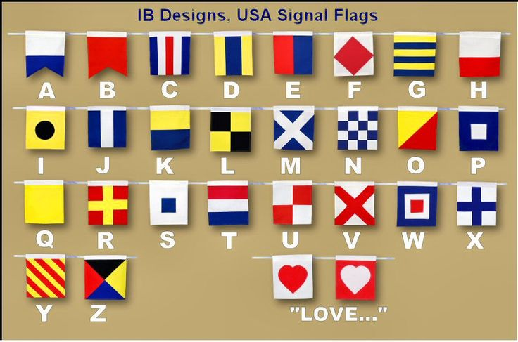 This is the Signal Flag Alphabet showing each flag and the letter below it.  http://www.ibdesignsusa.com/Flags/docs/examples/Examples-VerticalHang.html
