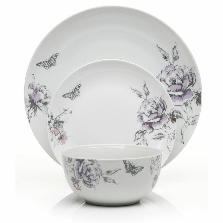 Wilko Hourglass Dinner Set Porcelain Floral 12 Piece At