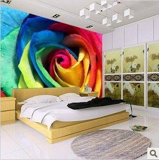 Роза цвета блестящий минималистский фон спальня шкаф росписи обоев романтическая спальня фотообоями - Taobao