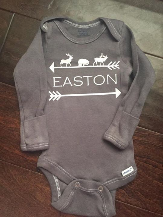Spelling out Sean. Woodland animals and arrow custom baby name onesie by TandEdesigns