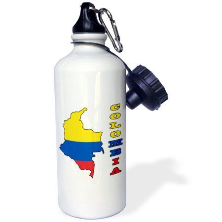 3dRose Colombian flag in the map and letters of Colombia, Sports Water Bottle, 21oz