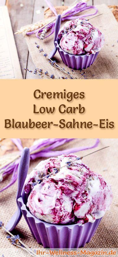 Rezept für Low Carb Blaubeer-Sahne-Eis - ein einfaches Eisrezept für kalorienreduzierte, kohlenhydratarme und gesunde Eiscreme ohne Zusatz von Zucker ...