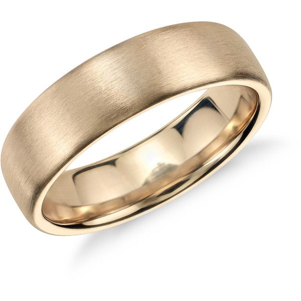 Modern in appeal this brushed 14k yellow gold wedding band features a rounded interior for everyday comfort. In 14k Yellow Gold (6.5mm).