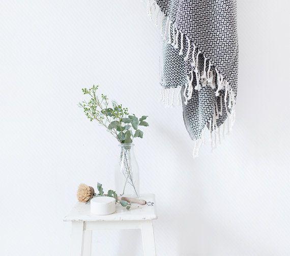 Couverture turque tissés à la main, serviette Peshtemal, noir et blanc turc serviette, serviette de Hammam, serviette de plage, couverture de pique-nique, jet tissé à la main