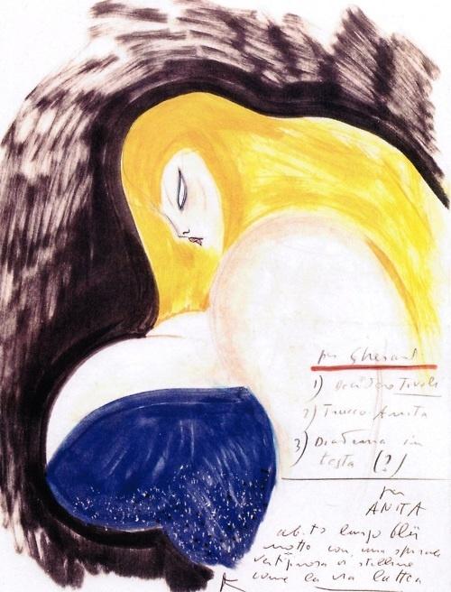 "Sylvia come Via Lattea ""Sylvia as the Milky Way"" One of Fellini's preparatory sketches of Anita Ekberg as La Dolce Vita's Sylvia."