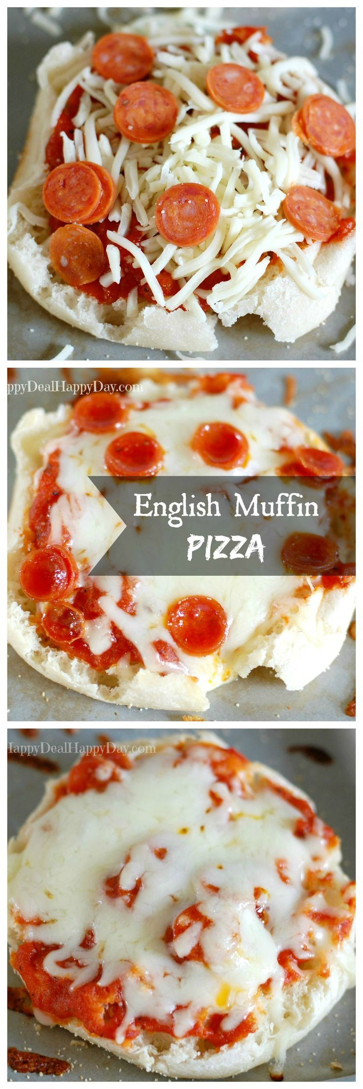 English muffin pizza - everyone's favorite when the kiddos want to help make dinner!!       happydealhappyday.com