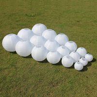 10 unids 6-8-10-12-14-16 Pulgadas Blanco Linternas de Papel Chinas Para El Partido Decoración de la boda Suministros de Papel Colgando Bola de La Lámpara LED Blanca