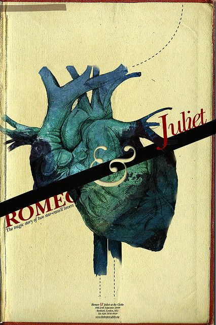 """Romeo  Juliet"" poster. Lovely design and the split human heart is quite creative."