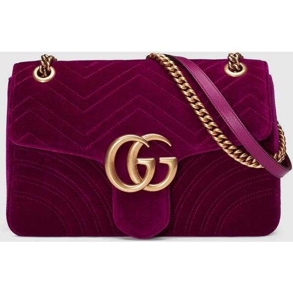 Gucci Gg Marmont Velvet Shoulder Bag ($1,790) ❤ liked on Polyvore featuring bags, handbags, shoulder bags, gucci, oversized handbags, structured purse, structured handbags and shoulder handbags