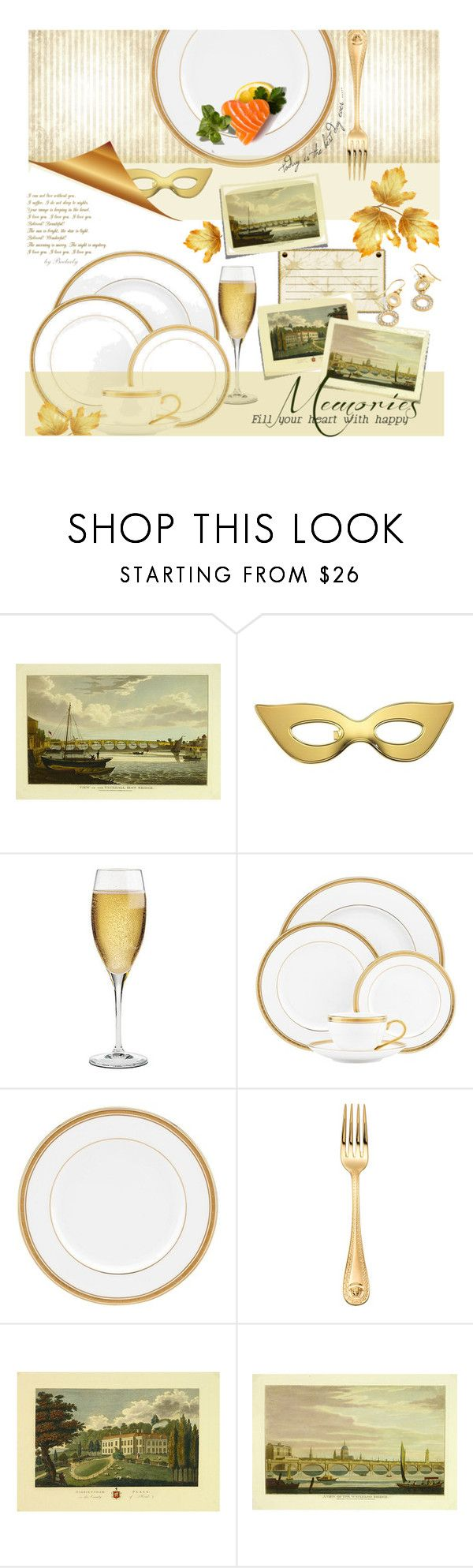 """""""Memories"""" by beebeely-look ❤ liked on Polyvore featuring interior, interiors, interior design, home, home decor, interior decorating, Kate Spade, Riedel, Versace and kitchen"""