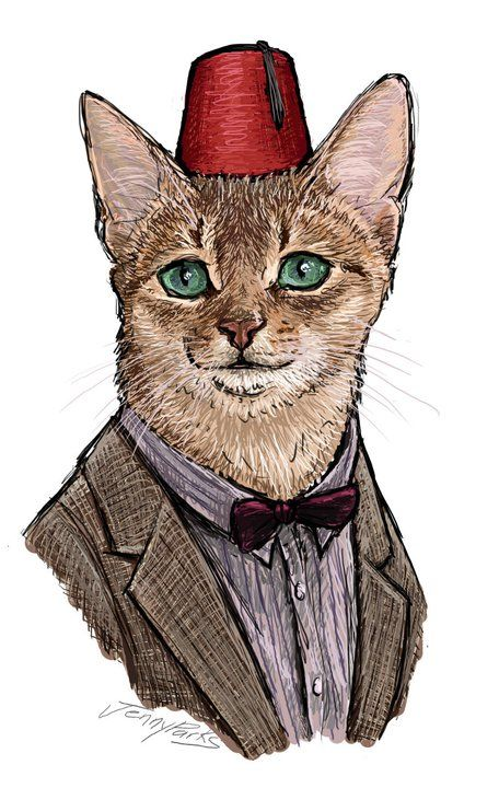 The 11 incarnations of Doctor Who beautifully rendered as cats