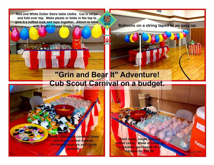 """Cub Scout Carnival """"Grin and Bear It"""" Adventure ideas."""