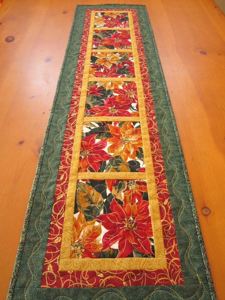 Christmas Table Runner Gorgeous Poinsettias