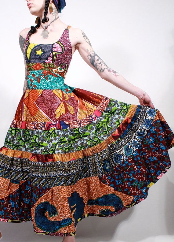 African wax print tribal ethnic gypsy bohemian batik halter maxi gypsy dress