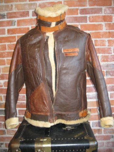 Vintage Original 40s Wwii Us Army Air Force B 3 Leather