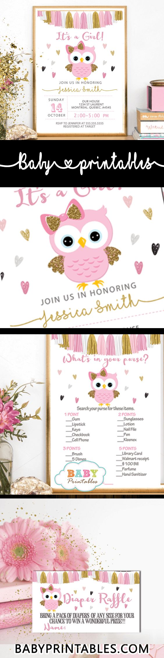 It's a Girl! Celebrate the event with these charming owl baby shower theme featuring an adorable bird in pink and gold glitter against a white backdrop surrounded by multi-colored hearts decorated with a beautiful tassel garland bunting. #babyshower #babyshowerinvitations #babyshowerideas4u #babyshowerparty