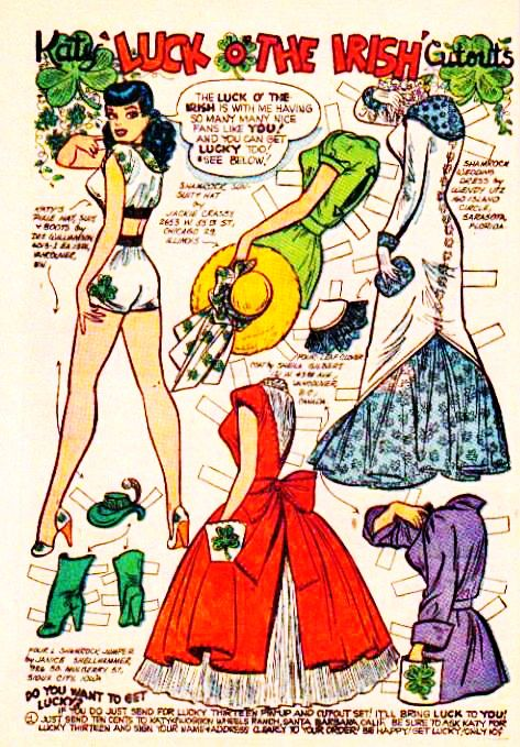 """Katy Keene paper doll c 1950s. Notice in the power left it says, """"Do you want to get lucky?"""""""