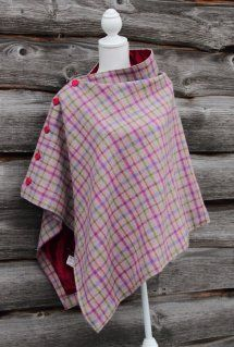 Harriet Hoot Harris Tweed Pink Check Poncho