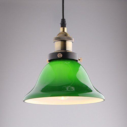 Jiuzhuo Vivid Esmeralda Verde Vidrio de Lámpara de Techo de la Montaje de Sombra Retro del Pendiente de la Luz de Colgante de Luz: Amazon.es: Iluminación