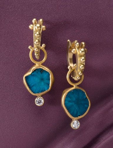 Cavansite Drops Electric splashes of indigo blue are bezeled in a combination of 18kt and 22kt gold and finished with blazing white diamonds The Golden Eye