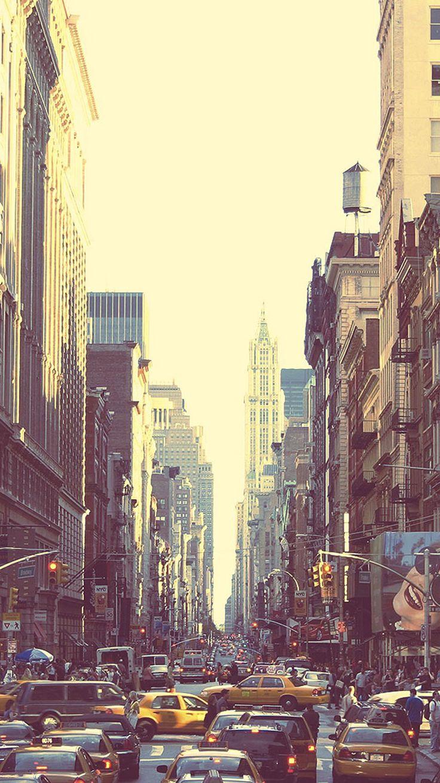 Wallpaper iphone city - New York Busy Street Sunset Iphone 6 Wallpaper