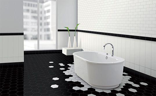 Черно-белая плитка для ванной, шестиугольники