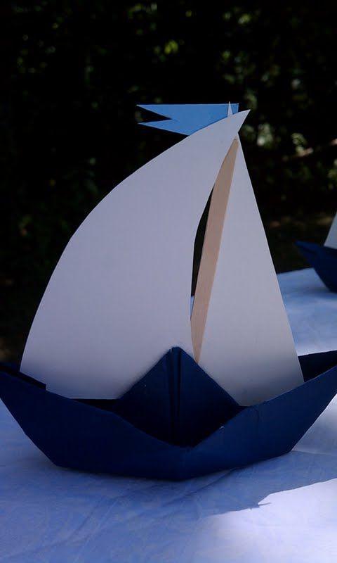Paper sailboat decoration