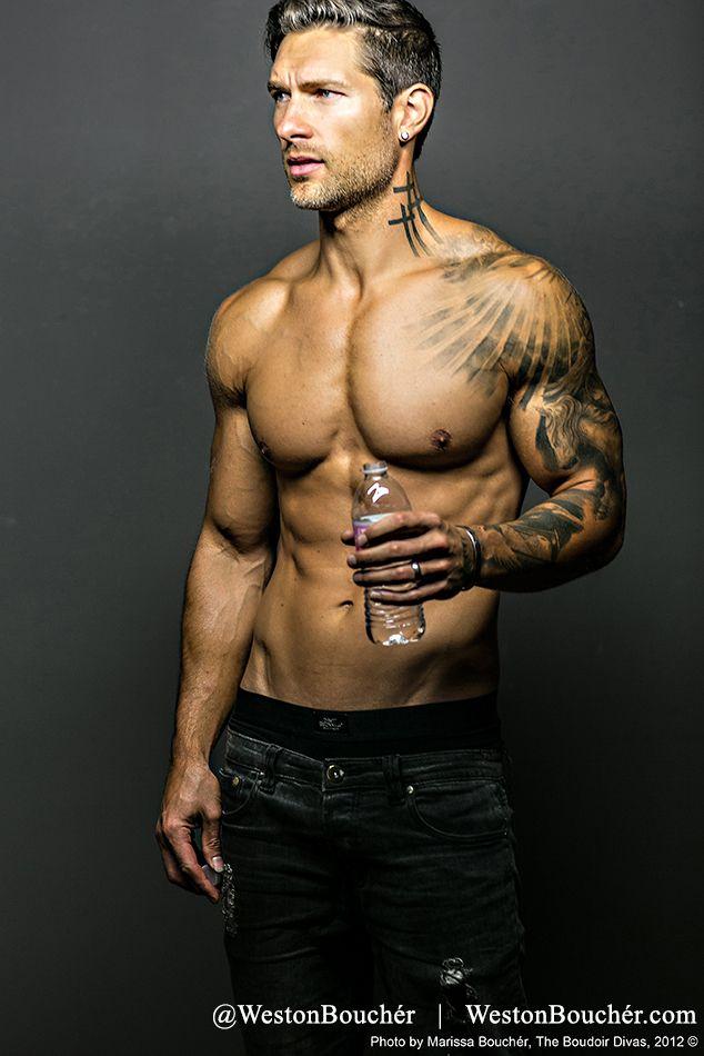 Pictured: Weston Bouchér | IG/Twitter @ westonboucher | westonboucher.com | Photos by: Marissa Bouchér : theboudoirdivas.com | Fitness Coach: George Waszczuk gwaszczuk@gmail.com | model, tattoos, abs, male physique