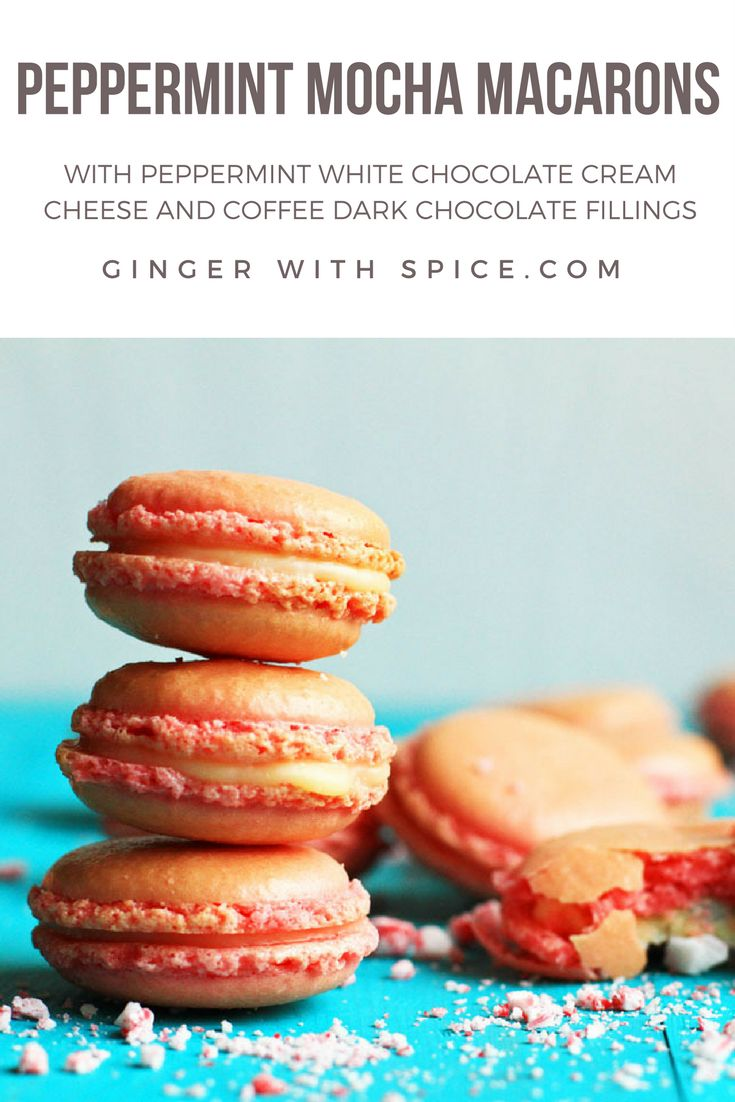 Peppermint Mocha Macarons for all the peppermint lovers this Christmas! The crunchy, gooey macaron is a perfect match with the peppermint white chocolate filling and the dark chocolate coffee filling. Bon Appétit! Click for recipe.