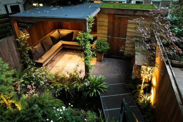 gestaltung ideen kleine g rten stadt sichtschutz garden landscaping ideas pinterest. Black Bedroom Furniture Sets. Home Design Ideas