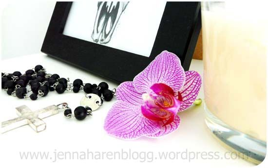 candle, orchid, frame, white, black, home decor, cross