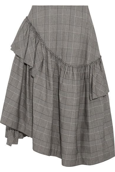 Simone Rocha uses heritage fabrics in the most fresh, modern way. Cut from Prince of Wales checked cotton-blend, this midi skirt has asymmetric ruffles that create a full silhouette - a signature of the designer.