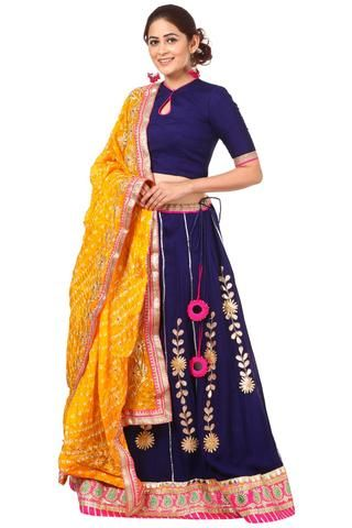 1fbe89e32234ee Blue Gotta Patti Lehenga with Keyhole Choli and Yellow Silk Bhandhej Gotta  Dupatta