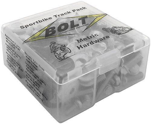 Bolt MC Hardware Sportbike Track Pack 99SBTP by Bolt Mc Hardware. Save 7 Off!. $23.20. Factory style fastener kit contains over 100 pieces of class 88 zinc-plated steel hex flange bolts, button head bolts, socket head bolts, fuji and nylock nuts, fairing bolts, nylon rivets and moreDesigned for late model Japanese sportbikesOrder in multiples of 6 or by the caseAll items are sold individually unless specifically described otherwise in the product description