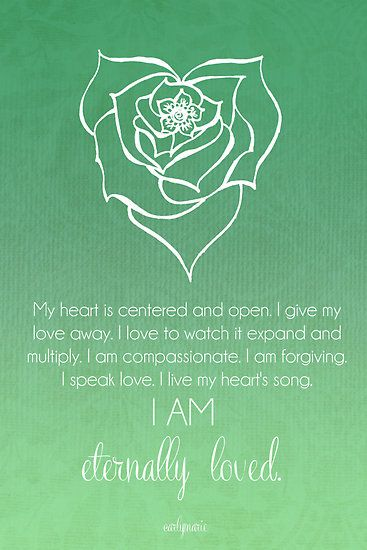 Heart Chakra Affirmation - My Heart Is Centered and Open - I Give My Love Away - I Love To Watch It Expand And Multiply - I Am Compassionate - I Am Forgiving - I Speak Love - I live My Heart's Song - I Am Eternally Loved! Loved by http://www.shivohamyoga.nl/ #yoga #namaste #yogi #om #chakra #affirmation